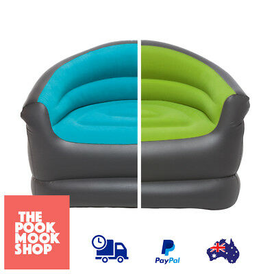Single Lounge Inflatable Chair Camping Lounger Blue & Green Inflating Valve Camp