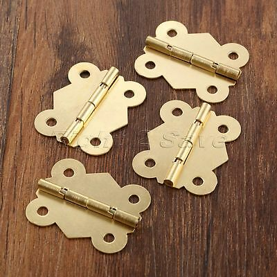 Gold Tone Butterfly Furniture Door Hinges Cabinet Jewelry Box Dollhouse Hinges