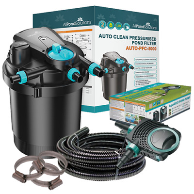 Auto Cleaning Pressurised Koi Pond Filter UV Steriliser All in One Kit - Ponds