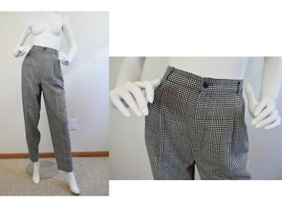 Vtg 80s high waist plaid pleated tapered houndstooth trouser pants S  27 x 30 US