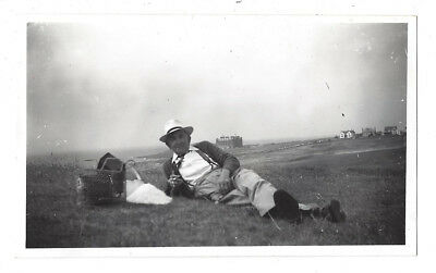 NEWQUAY Man on the Golf Links - Vintage Photograph c1950s