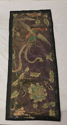 Antique Chinese Embroidered Silk Fabric Robe Panel Floral Phoenix As Is