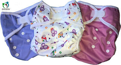 3 NEW NAPPY WRAPS Birth-to-Potty, one-size fits all, waterproof, UK Seller