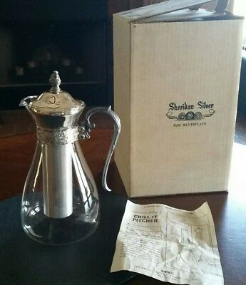 Vintage Sheridan Silver Co. Silverplate Chill It Pitcher & Ice Tube in Orig Box