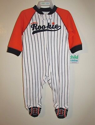 Carters Baseball 'Rookie' Footed Sleeper (Size Newborn) BRAND NEW W TAGS