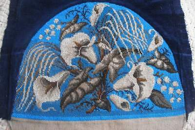 Antique Victorian embroidered beadwork, beaded woolwork embroidery arum lilies