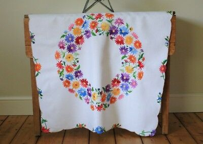 Beautiful Vintage White Hand Embroidered Linen Tablecloth Flowers Garland