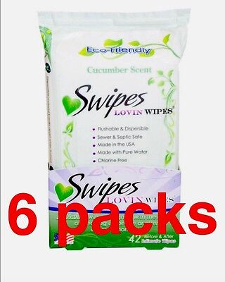 6 Packs Swipes Lovin Wipes Natural Flushable Intimate Towelettes, Cucumber 42ea