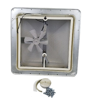 """14"""" RV Trailer Roof vent 12v fan Heng's  71112-NGRPS Butyl/putty tape & screws"""
