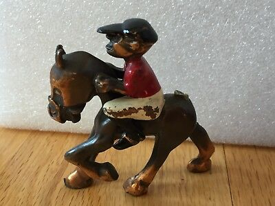 Rare Vintage K&O CO 1935 Race Horse Jockey ~ Solid Metal