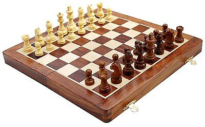 "BRAND NEW! 16"" X 16"" Deluxe Wooden Folding Magnetic Chess Set - Weighted Pieces"