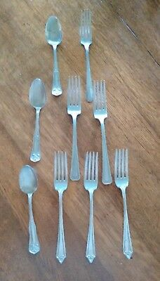 Lot of Nine Vintage Nickle Silver Spoons and Forks