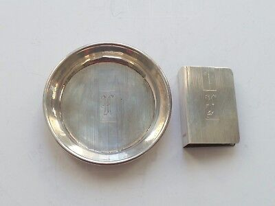Art Deco Sterling Silver Individual Match Book Cover & Ashtray, 30 Grams
