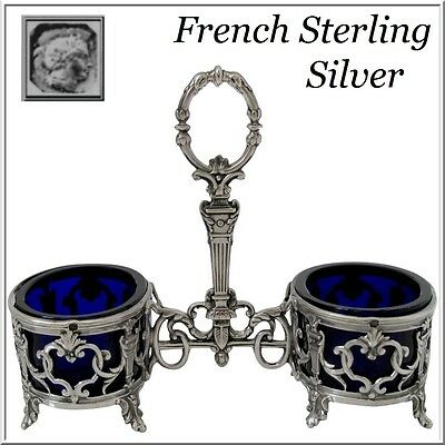 Antique French Sterling Silver & Cobalt Glass Open Salt Caddy Napoleon III