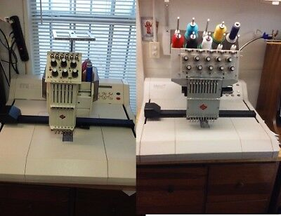 Lot of 2 EMC EMBROIDERY MACHINES by MELCO ,One of 10T Threads & 2ND.One of 6T