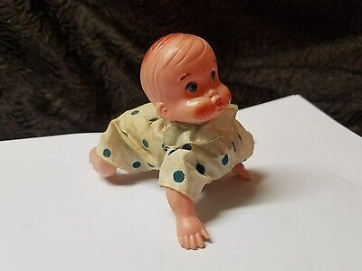 Vintage 1950's Plastic and Metal Wind-Up Crawling Baby Doll ( Rare)