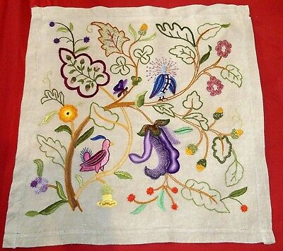 Vintage Jacobean Style Embroidery Embroidered Cushion Cover on Irish Linen