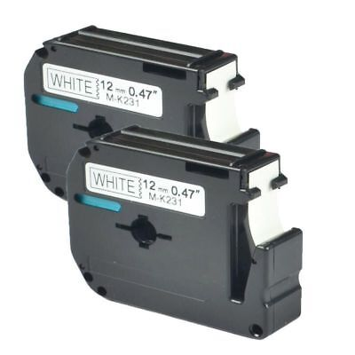 2pk M-K231 MK231 Label Tape Cassette Compatible For Brother P-touch Ribbon 12mm