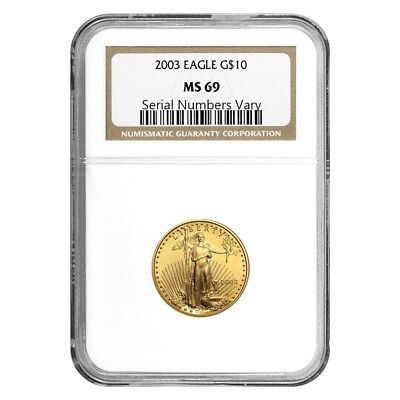 2003 1/4 oz $10 Gold American Eagle NGC MS 69