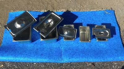 LOT of stainless steel trays for salad bar
