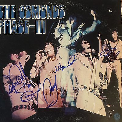 The Osmonds Signed  5 Signatures  LP Record Album Phase-III w/ 5 JSA AUTOS