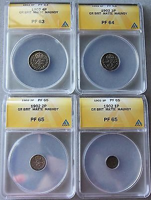 1902, Great Britain-Maundy Complete (4) Silver Coin Set, ANACS MATTE PROOF 63-65