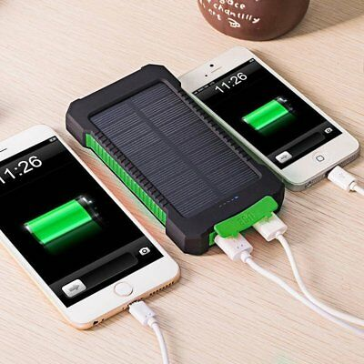 50000mAh Power Bank Waterproof Dual USB Portable Solar Battery Charger Solar USA