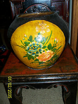 RARE - Chinese Antique Timber Bamboo Paper Mache floral Painted Pot - GANSU