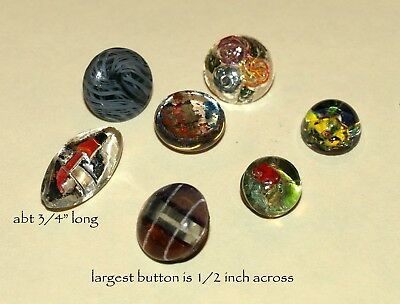 5 Vintage Glass Buttons.  Free Shipping!