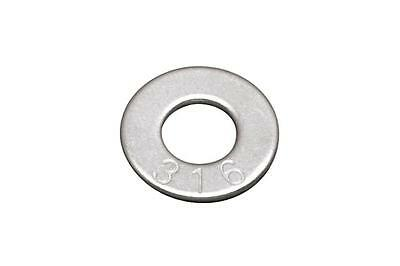 Qty 100 Flat Washer M8 (8mm) x 17mm x 1.2mm Marine Stainless Steel SS 316 A4