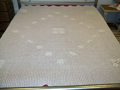 Beautiful Antique Vintage White Cotton Cobweb Throw Bedspread W193cm x L208cm