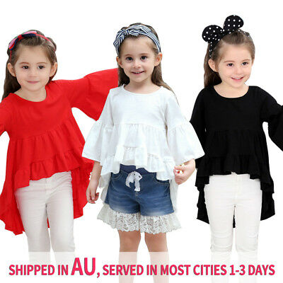 Summer Kids Baby Girls Ruffled T-shirt Top Princess Dress Party Wedding Blouse