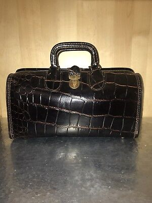 Upjohn Doctor's Leather Croc Medical Bag - Mint Condition