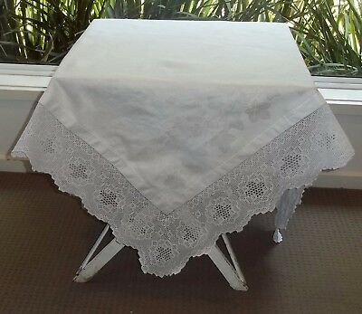 Vintage Fine Irish Linen White Damask Tea Cloth Deep Crochet Edge