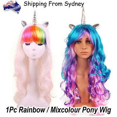 Unicorn Pony Mix Colour Dash Wig Cosplay Flutter shy Twilight Applejack Synthe W
