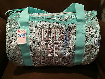 "Justice ""let's Be Mermaids"" Duffel Bag Plush Seafoam Shimmer Accent Plush Wow!!!"