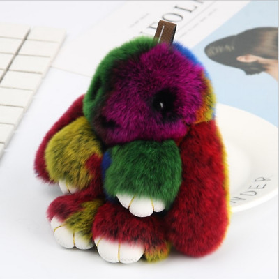 Cute Faux Fur Bunny Fluffy Rabbit Keyring Bag Pendant Keychain Furry Mixed Color