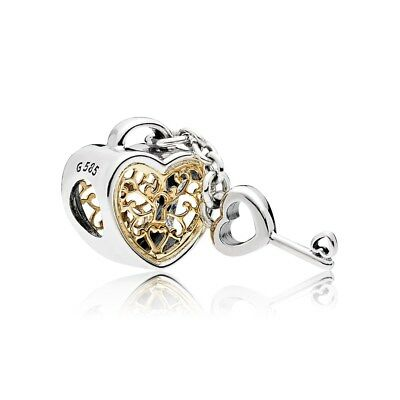 Authentic Pandora Charm Silver & 14K Gold Heart Lock 796483