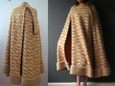 60s Woven Wool Long Winter Cape Coat One Size Buy 3+items for FREE Postage