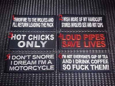 Biker Slogan Patch Funny Embroidered Flash Sew Iron on Rider Motorcycle vest cut