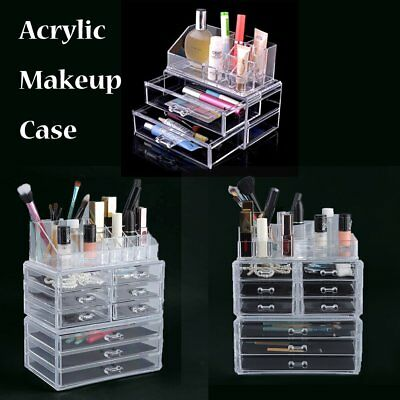 Cosmetic Organizer Clear Acrylic Jewellery Box Makeup Storage Case Drawers AU ME