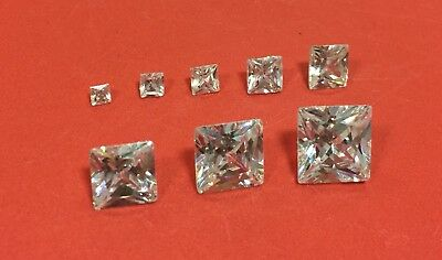 Cubic Zirconia Loose Stone PRINCESS SQUARE shape crystal gem clear PREMIUM x2-10
