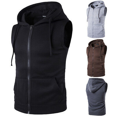 Mens Zip Up Waistcoat Vest Hoodies Jacket Casual Sports Slim Fit Sleeveless Coat