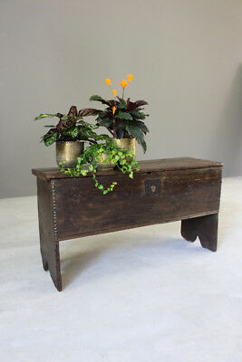 Antique Rustic Country 17th Century Oak Six Plank Chest Coffer Blanket Box