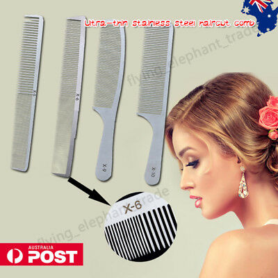 Professional Salon Hair Comb Stainless Steel Anti-Static Baber Hairdressing AU