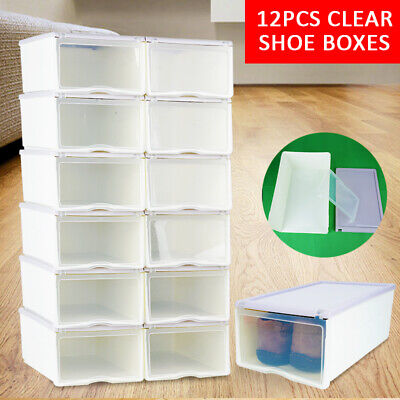New 12 x Large Hard Plastic Shoe Box Clear Container Heavy Duty Storage boxes