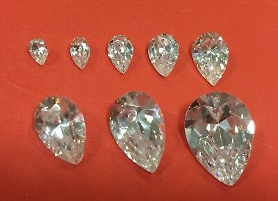 Cubic Zirconia Loose Stone PEAR TEARDROP shape crystal gem clear PREMIUM 4-14mm