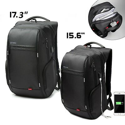 "Kingsons Laptop 15.6/17.3"" Backpack Travel Bag Nylon USB Port Waterproof Hiking"