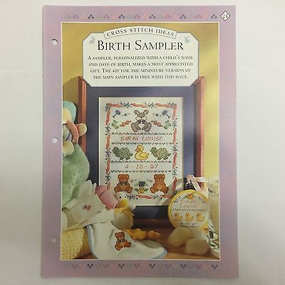 Needlework pattern: Birth Sampler cross stitch design and instructions