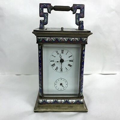 Vintage Cloisonné Enamel Carriage Clock Twin Bell Chiming Repeater